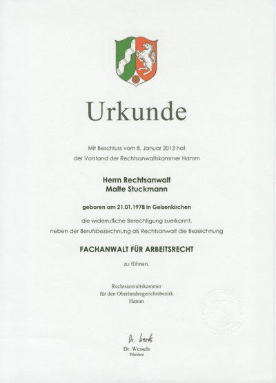Zertifikat-Malte-Stuckmann-Fachanwalt-fuer-Arbeitsrecht